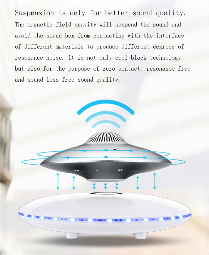 Magnetic levitation smart Bluetooth speakers super bass stereo wireless charging UFO style design HIFI sound quality LED lamp