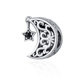 BAMOER 100% 925 Sterling Silver Openwork Moon and Star Goodnight Charm Beads fit Bracelet DIY Jewelry Valentine Day Gift SCC483