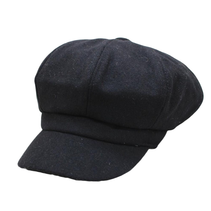 SUOGRY 2019 New wool Women Beret Autumn Winter Octagonal Cap Hats Stylish Artist Painter Newsboy Caps Black Grey Beret Hats in Men 39 s Berets from Apparel Accessories