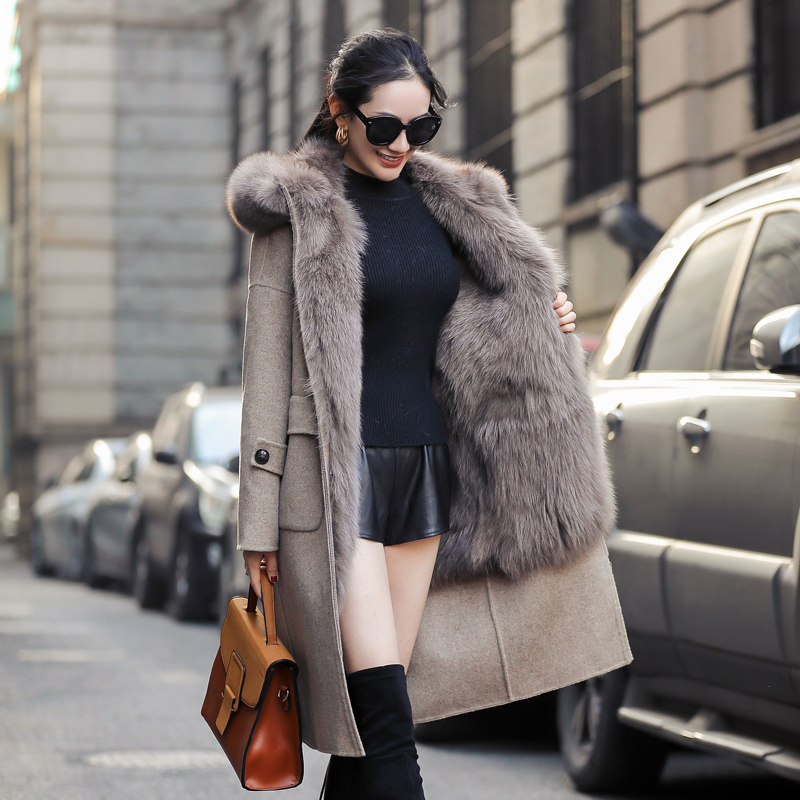 Fur Real Coat Female Natural Fox Fur Parka Winter Jacket Women Woolen Coats And Jackets Women Korean Long Jacket MY4114 S S