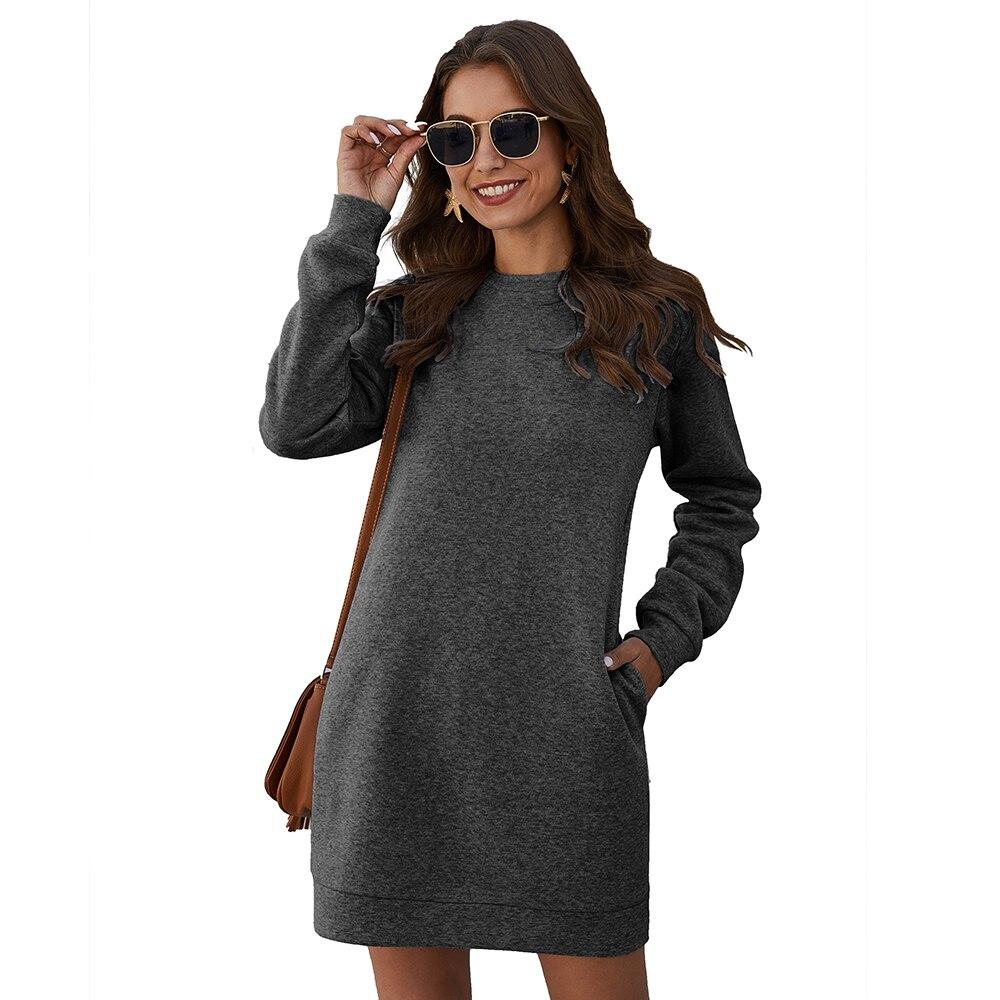 Осенне зимнее мини платье повседневное однотонное с круглым