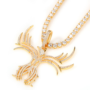 Hip Hop Iced Out Cubic Zirconia Skeleton Butterfly Pattern Pendant Necklace Tennis Chain Necklace Men Women Fashion Jewelry Gift