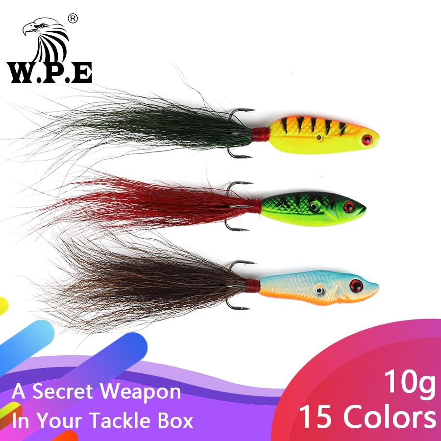 W.P.E Ice Winter Lure 1pcs 10g 15 color 41mm-45mm Hard Fishing Lure Artificial Bait for Winter Lead Jigging Wobbler Treble Hook