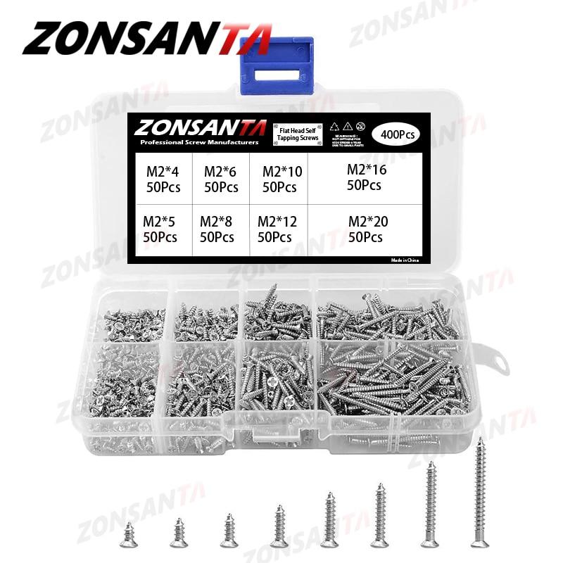 ZONSANTA 400Pcs M2 Cross Flat Head Self Tapping Screw Assortment Kit Wood Thread Nail Screw Sets DIY Countersunk Head Smal Scres