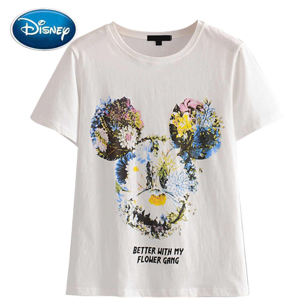 Disney Chic Fashion Mickey Mouse Bloemen Avatar Brief Cartoon Print Vrouwen T-shirt O-hals Trui Korte Mouw White Tee Tops