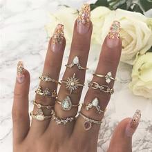 LETAPI Bohemian Vintage Crown Water Drops Stars Geometric Crystal Ring Set Women Charm Joint Party Wedding Jewelry