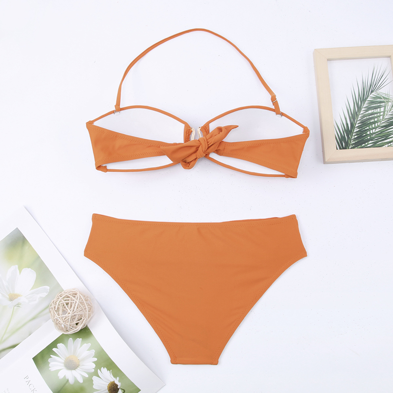 H9abd8fa7c63f45d49552039b2f059856Q - Sexy Bikini Push Up Solid Swimsuit Female Bikinis String Bathing Suit Women Swimwear Bandaeu V Neck Biquini Bikini Set