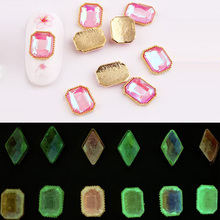 Glow in the Dark Stones Bead Luminous Crystals In Gems 3D Rhinestone Nail Art Glitter Sticker Decal Charm 10/package