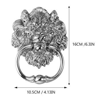 1 pc Front Door Handle Antique Silver Tone Lion Head Zinc Alloy Pull Ring Door Knocker Door Handle for Drawer Cabinet 4