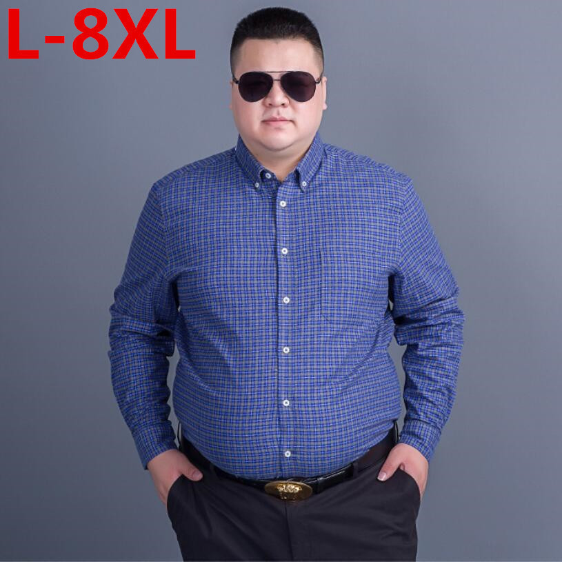 Plus Size Men's Plaid Cotton Casual Shirts Office Long Sleeve Fashion Brand High Quality Wholesale Male Luxury Army Dress Shirts