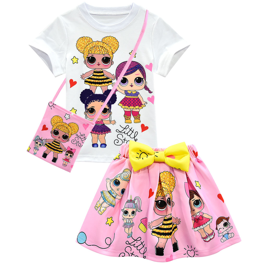 Summer Toddler Girls Lol Clothes Sets Baby Cartoon Dolls Kids Clothing Cotton T-shirt And Skirt Bag Outfit Princess Dress Girl