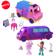 Original Polly Pocket Mini Car Pollyville Party Limo Truck Box Birthday Kid Toys Girls Reborn Gift Doll House Accessories Boneca