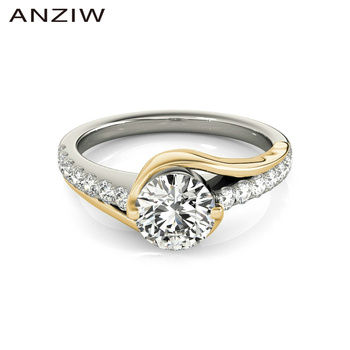 ANZIW Fashion 925 Sterling Silver White Gold Yellow Color 1ct Round Ring Women Engagement Wedding Rings Gift