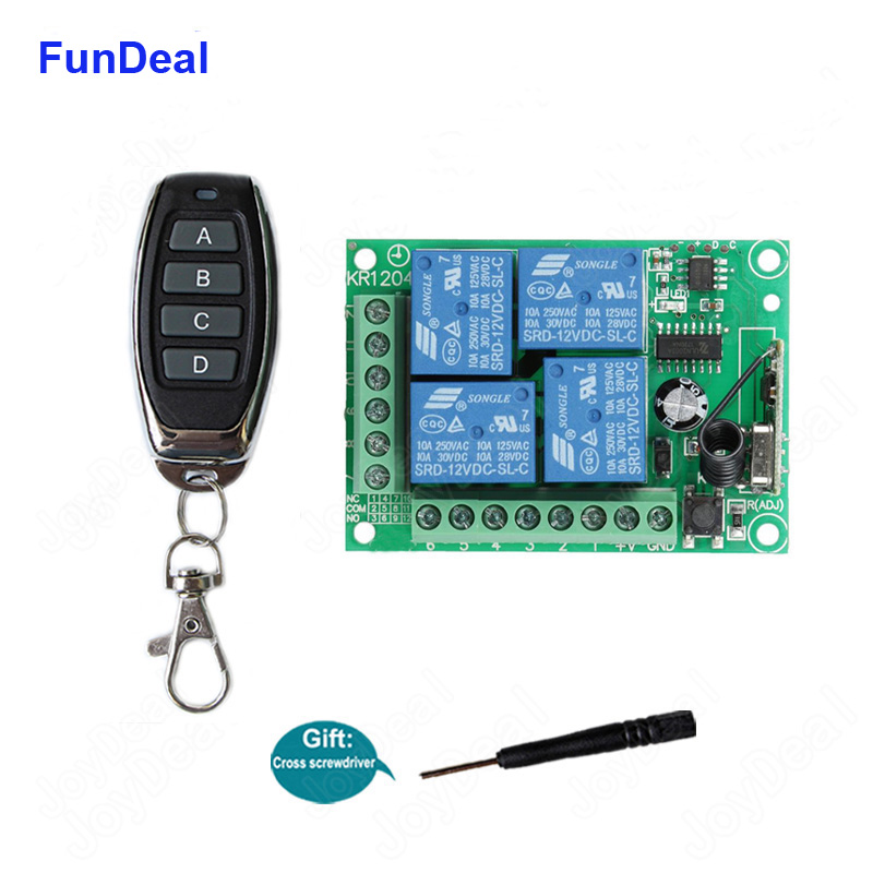433Mhz DC 12V Universal Wireless RF Remote <font><b>Control</b></font> Switch 4CH Relay Radio Receiver Module And Smart Remote <font><b>Controls</b></font> Transmitters image