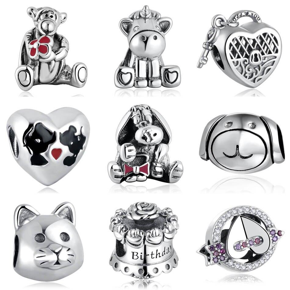 Authentic S925 Silver Bead Unicorn Tiger Donkey Kissing Mouse Cat Dog Birthday Cake Lock Charms fit Pandora Bracelets(China)