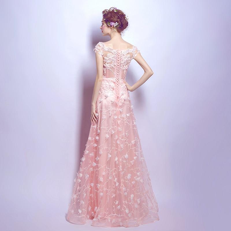 Pink Evening Dresses 2020 Long Spring Lace Off Shoulder Sheer Neck A Line Lace Up back Prom Gown Stock vestidos Walk Beside You