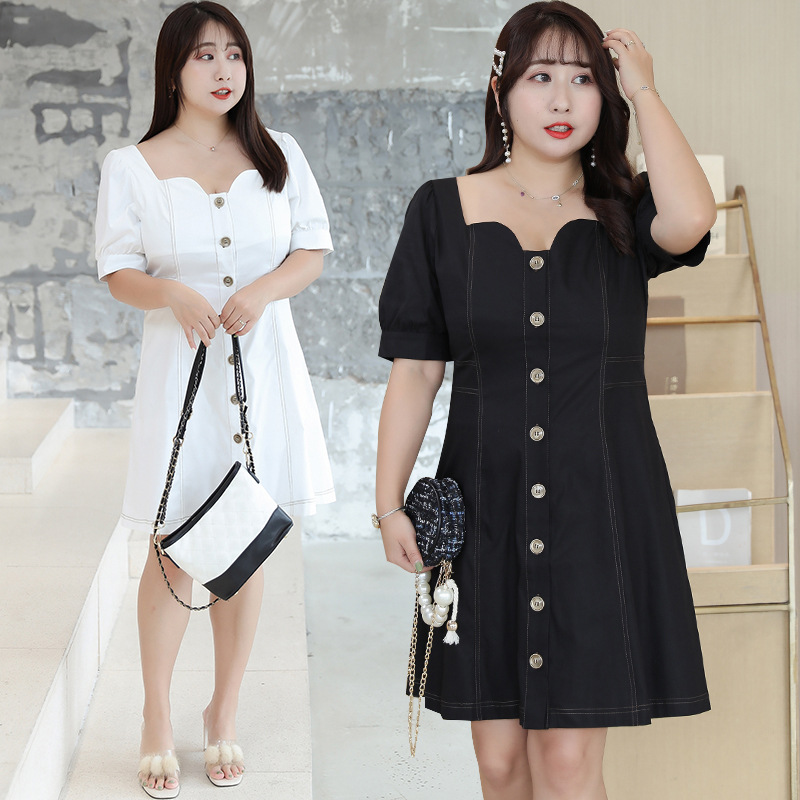 [Xuan Chen] Large GIRL'S Hong Kong Flavor CHIC-Style Dress Summer New Style Plus-sized Open Wire Skirt On Behalf Of A219