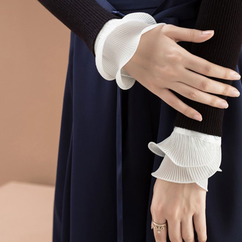 Coslony New Detachable Shirt Pleated Flare Sleeve False Cuffs Solid Color Pleated Layered Wristband Decorative Women Clothing