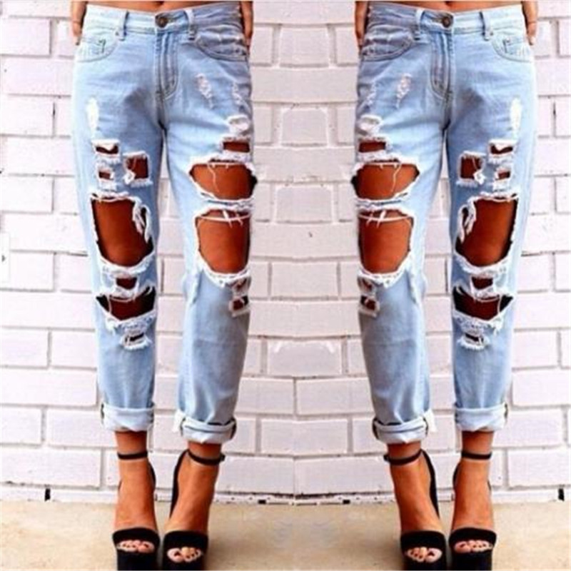 Fashion Womens Destroyed   Jeans   Ripped Denim Pants Broken Boyfriend   Jeans   Long Pencil Trousers New 2019 Summer Big Hole Trousers