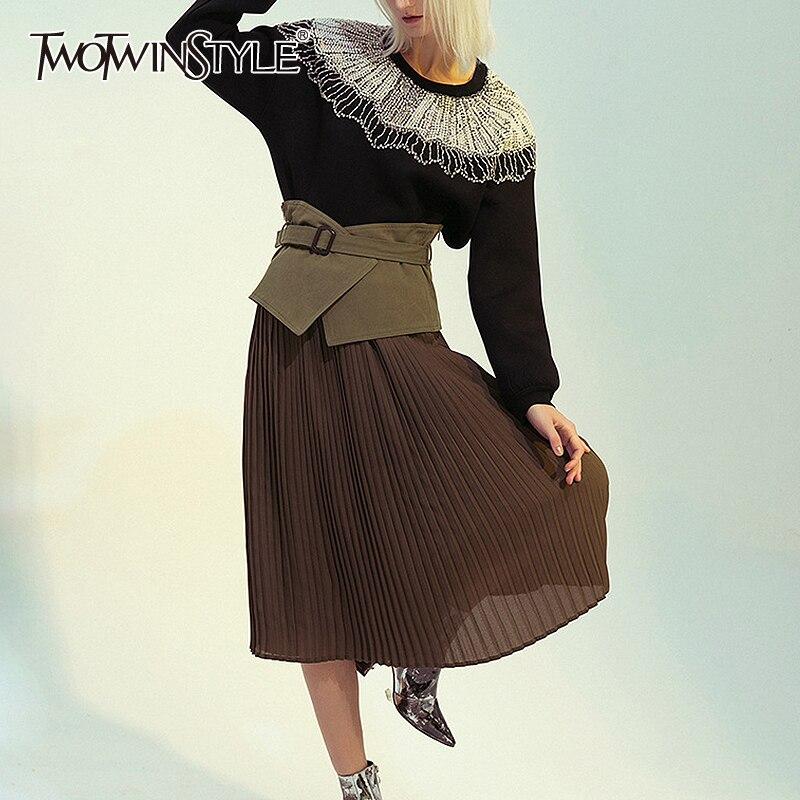 TWOTWINSTYLE Patchwork Mesh Perspective Skirts Women High Waist Irregular Midi Pleated Skirt Female Elegant Spring 2020 Fashion