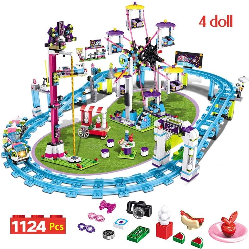 Bricks Compatible Legoinglys Friends Amusement Park Blocks Roller Coaster Figure Model Toys Hobbie Children Girls