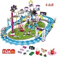 Bricks Compatible Legoinglys Friends Amusement Park Blocks Roller Coaster Figure Model Toys