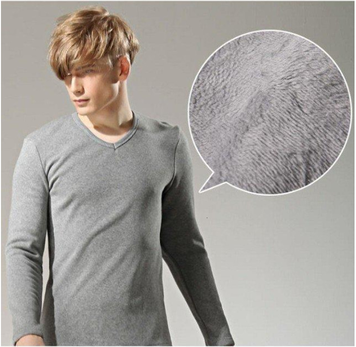 Men's Wear Thickening Increase Down Keep Warm Leisure Long Sleeve Male Solid Color Rendering Shirt Large Size