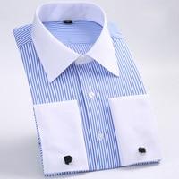 Men's Dress Shirts Loose French Cuff Regular fit Luxury Striped Business Long Sleeve Cufflinks Social Plus Size Men Shirt 6XL 1