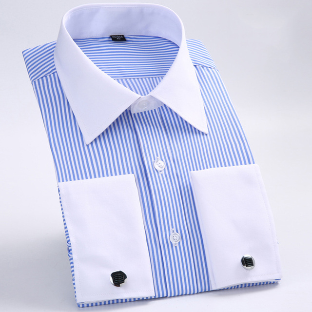 Men's Dress Shirts Loose French Cuff Regular fit Luxury Striped Business Long Sleeve Cufflinks Social Plus Size Men Shirt 6XL 1