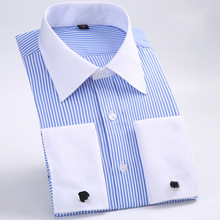 Men's Dress Shirts Loose French Cuff Regular Fit Luxury Striped Business Long Sleeve Cufflinks Social Pluse Size Blouse 6XL