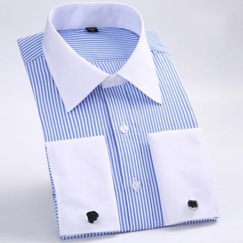Men's Dress Shirts Loose French Cuff Regular Fit Luxury Striped Business Long Sleeve Cufflinks Social Pluse Size Blouse 6XL недорого