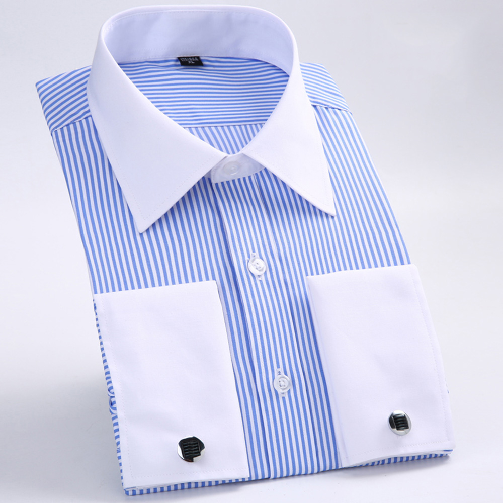 Men s Dress Shirts Loose French Cuff Regular fit Luxury Striped Business Long Sleeve Cufflinks Social