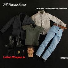 1/6 collectible rm015 arma letal mel colúcille gerard gibson cabeça & roupas conjunto modelo para 12 male male corpo masculino sem pescoço