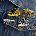 LIFE WAS OK Skeleton In Coffin Brooch Dark Humor Pins Denim Jacket Pin Buckle Shirt Fashion Gift for Friend Badge for Bag Lapel