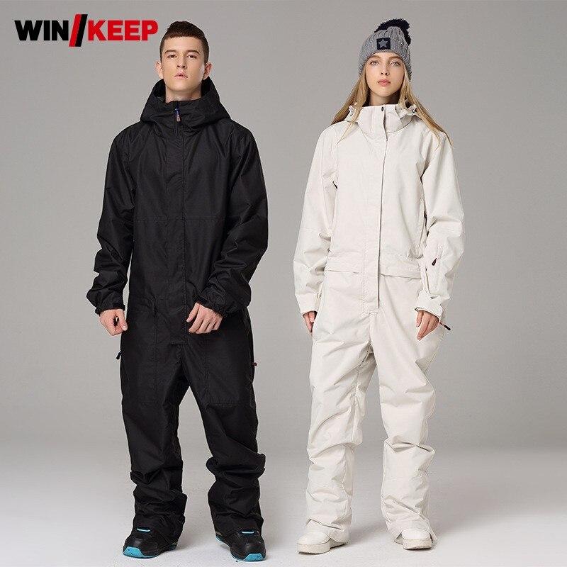 Winter Outdoor Ski Suit Women Men Tracksuit Hoody Windbreaker Waterproof Snowboarding Sets One Piece Skiing Suit Sport Equipment
