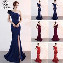 Skyyue Evening Dress Backless Split Women Party Dresses Short Sleeve Robe De Soiree 2019 Zipper Formal Gowns C092-DS3