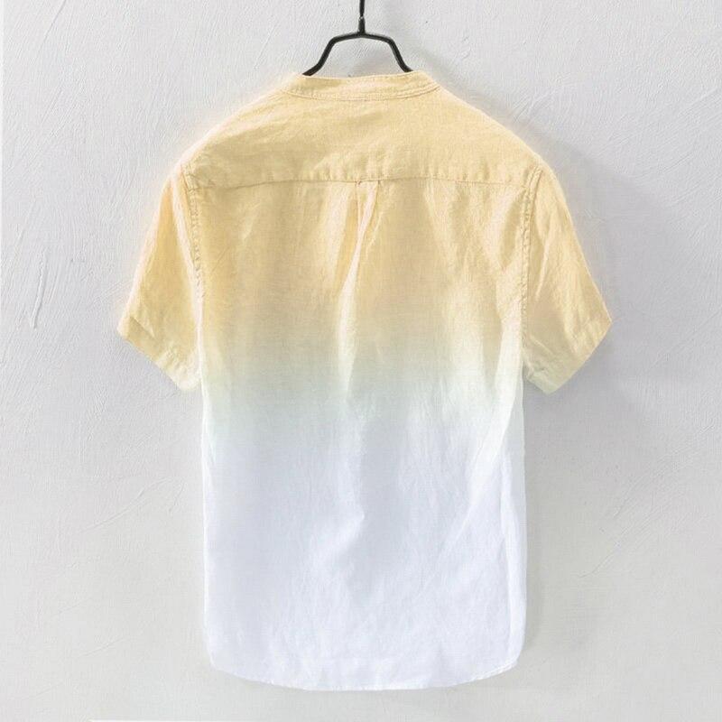 Большие размеры, мужские мешковатые полосатые хлопковые льняные рубашки с коротким рукавом, повседневные рубашки на пуговицах, топы, блузк...