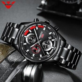 Relojes NIBOSI para hombre, relojes de cuarzo de lujo de marca de negocios, reloj de pulsera deportivo militar resistente al agua para hombre, reloj negro Masculino
