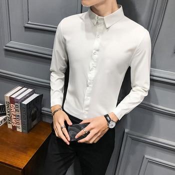 Black Shirt Men Long Sleeve Slim Stand Casual Dress Shirts Mens Trajes De Hombre Formal Business Streetwear Social Shirt Camisa