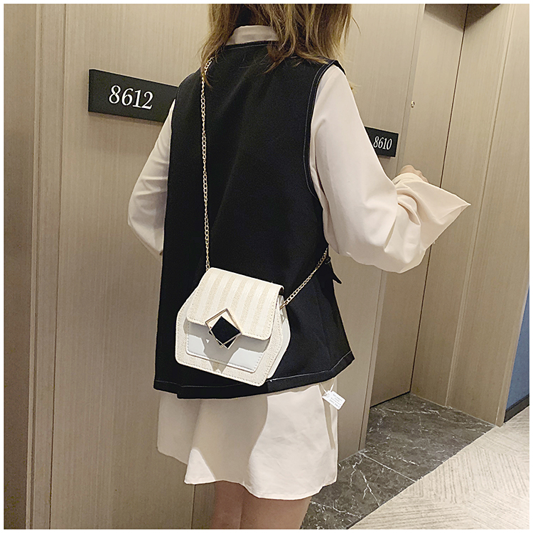 Mini Bag Girl 2019 New Korean Edition Fresh and Popular Fashion Chain PU Slant Bag Personal Bag Mobile Geometric Bag Clothes 98