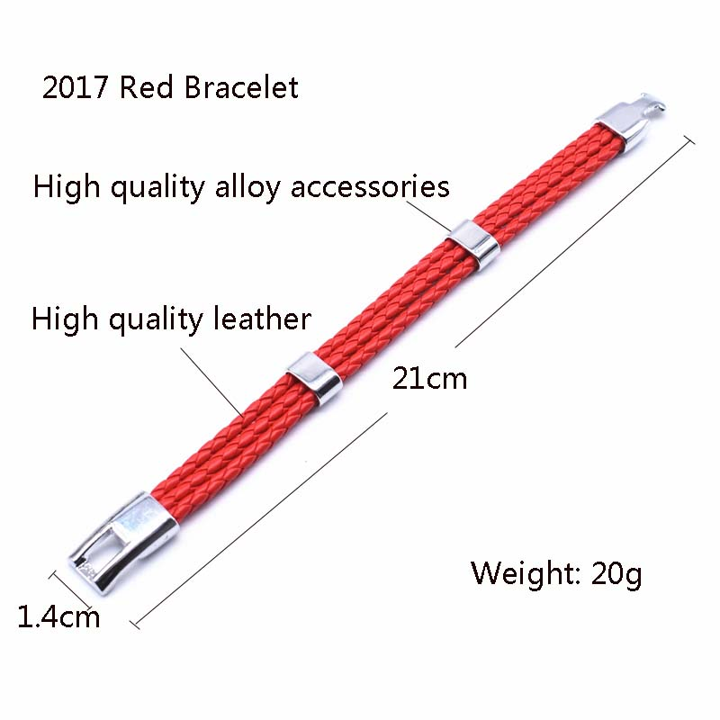 VOQ Fashion Unisex Jewelry Red String Bracelet 3 Layer Handmade Braided Leather Rope Men Women Hand Strap Charm Bracelet
