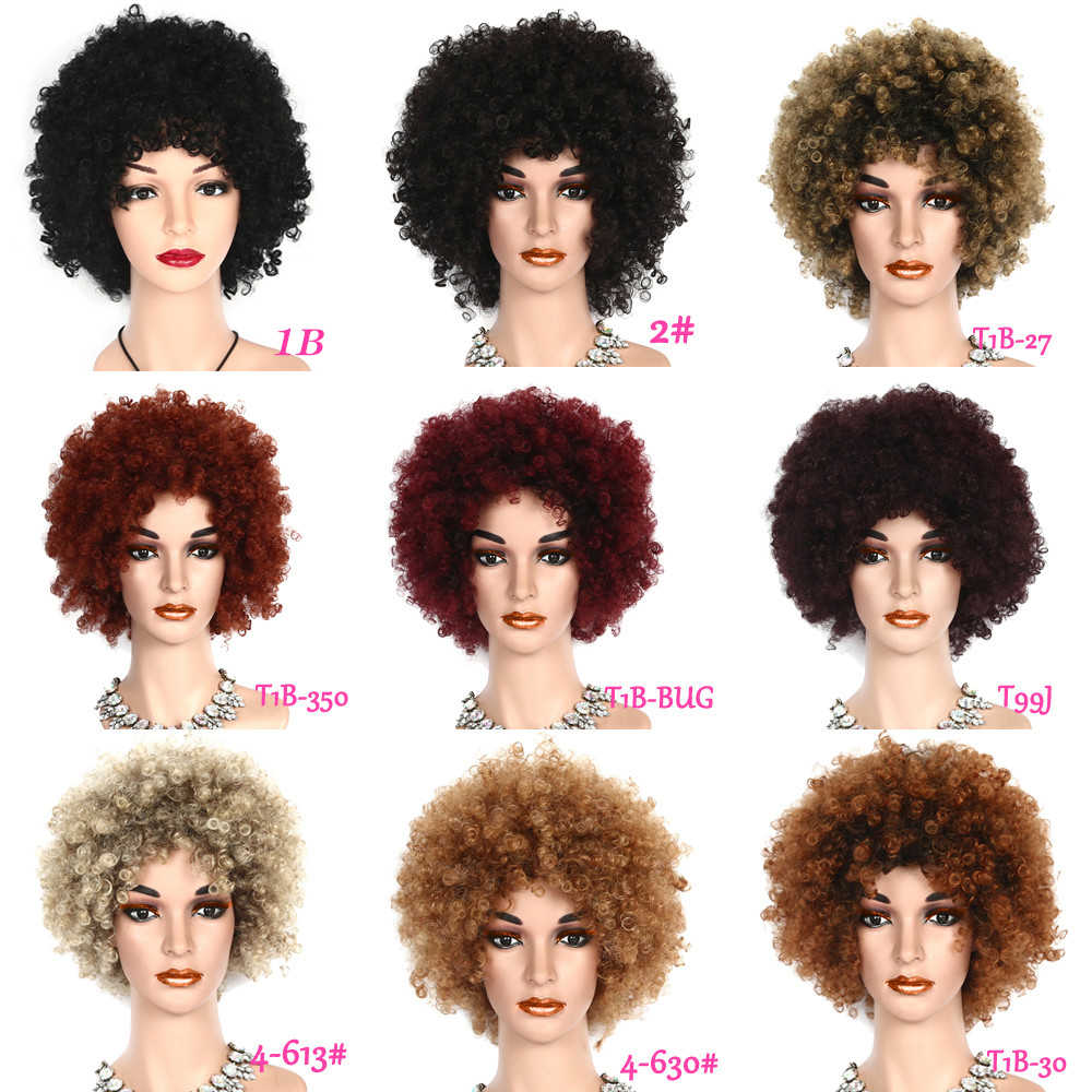 Peruki z włosami kręconymi typu kinky dla czarnych kobiet włosy syntetyczne peruki afro Daily Party Cosplay damskie peruki włókno termoodporne