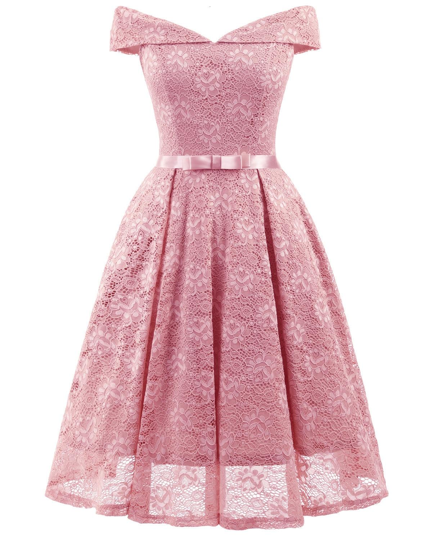 A-Line V Neck Off Shoulder Lace Knee-length Lace Bridesmaid Dress 13