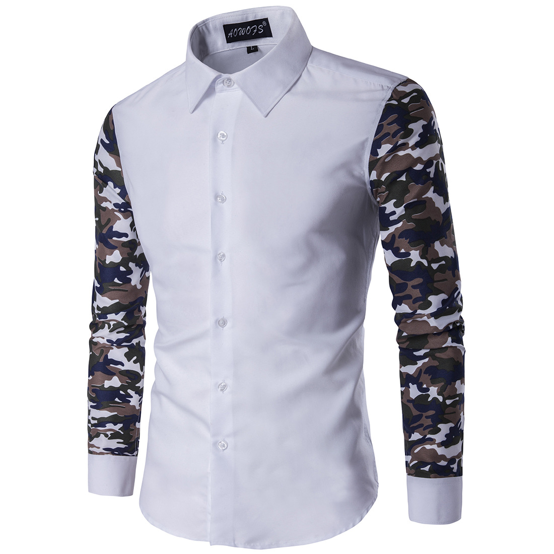 Aowofs Fashion MEN'S Wear Camouflage Sleeve Long-sleeved Shirt Slim Fit Europe And America Catwalks MEN'S Shirt 2-Color Xd009