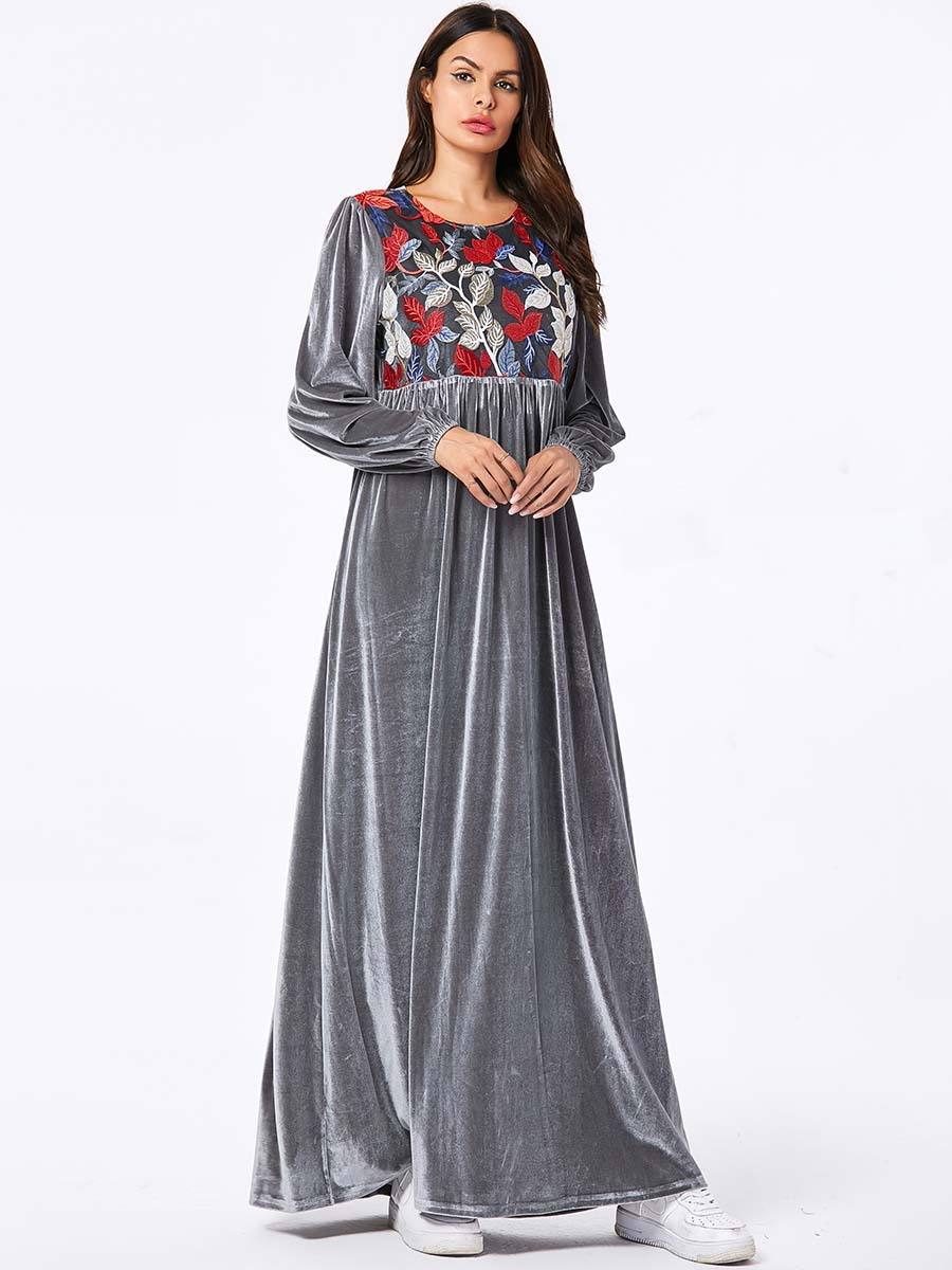 2020 robes de dubaï de vacances Musulman Abaya dubaï robe pour dames 9102 grandes femmes broderie longue arabe grande jupe longue