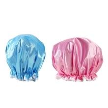 1pc Lovely Double-layer Women Shower Satin Hats Bath Shower Caps Hair