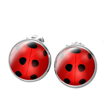 Cosplay Ladybug Anime Jewelry Ladies Earrings Girls And Ear-Clip Circle Party-Gifts Polka-Dot