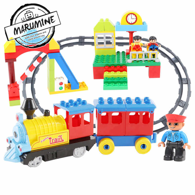 Marumine Battery Operated Duplo Train Track with Light & Sound Kids Railway Building Blocks Set Educational Toys for Children