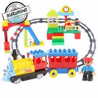 Marumine แบตเตอรี่ดำเนินการ Duplo รถไฟติดตาม Light & Sound เด็กรถไฟ Building Blocks ชุดของเล่นเพื่อการศึกษาเด็ก