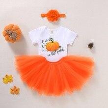 Newborn halloween Costumes Baby Girl Clothes 3Pcs Bat Pumpkin Print Tops+Skirt+Headband Halloween Costume For Toddler D35